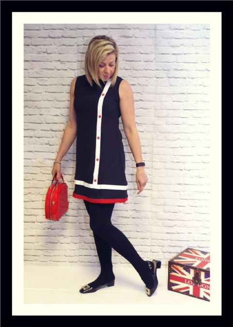 "The ""Betty"" Sleeveless Black Dress With Side Stripe Detail"